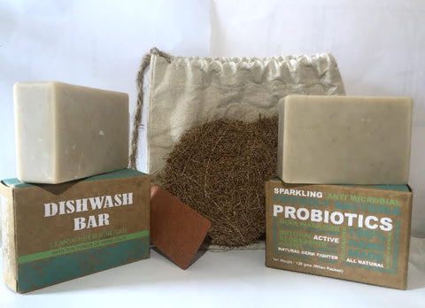 Karmic Seed's probiotic dish soap bar and dish scrub