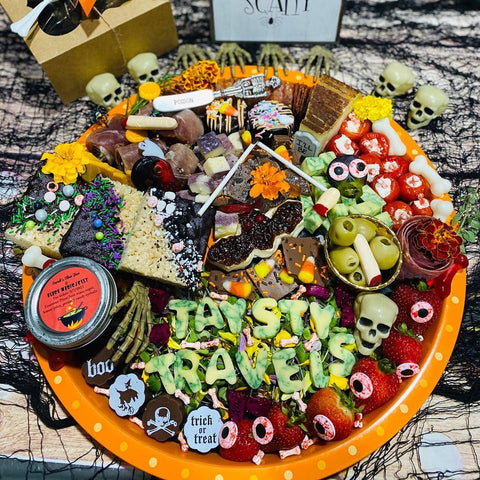Halloween Charcuterie on Palm Leaf Round Tray