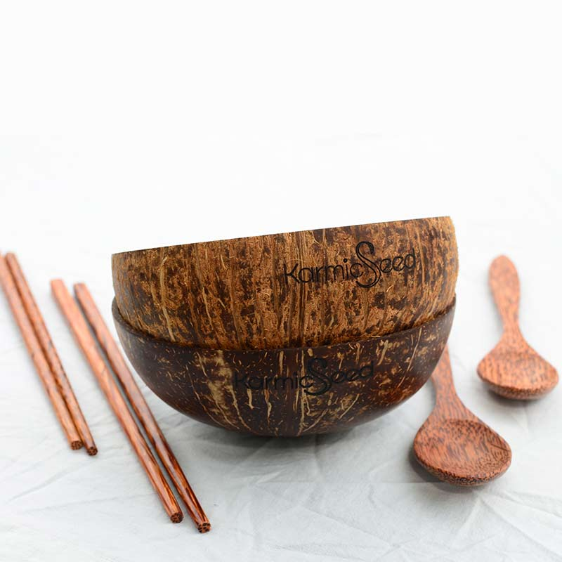 Coconut Bowl Set, Handmade (2 bowls, 2 spoons, 2 chopsticks)
