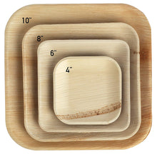 "Load image into Gallery viewer, Palm Leaf Plates Square Dinner ALL SIZES Plates 4""-10"" Inch"