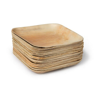 bamboo plates square stack