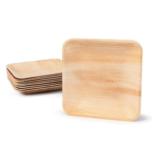 "Palm Leaf Plates Square Dinner ALL SIZES Plates 4""-10"" Inch (Set of 100/50/25)"