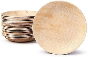 "Palm Leaf Round Plates 8"" Inch (Set of 25/50/100) - FREE US Shipping"