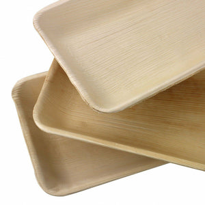 "Palm Leaf 9"" x 6"" Inch Rectangle Tray (25/50/100 plates)"