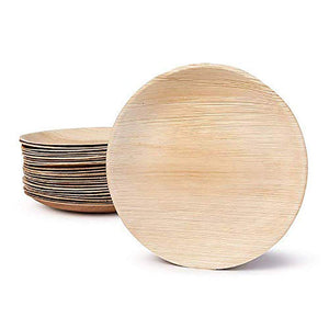 "Palm Leaf Round Plates 10"" Inch (Set of 25/50/100) - FREE US Shipping"