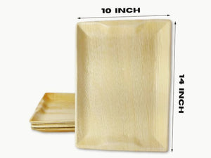 Palm Leaf rectangle tray disposable Tray 14x10 Inch charcuterie platter