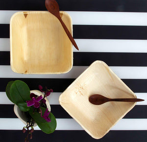 "Palm Leaf Deep Square Bowls 5"" Inch with spoon"