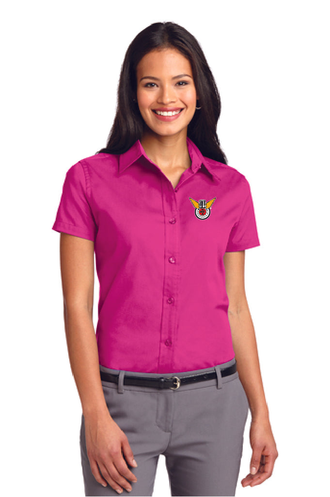 Ladies Dress Shirt: PINK-Embroided Color Logo