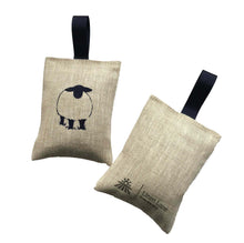 Load image into Gallery viewer, irish linen lavender sachet with grey handprinted sheep