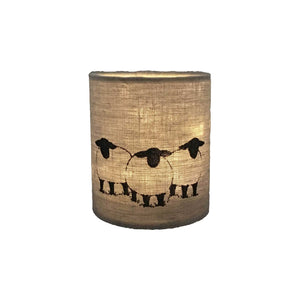 irish linen lantern with grey handprinted sheep