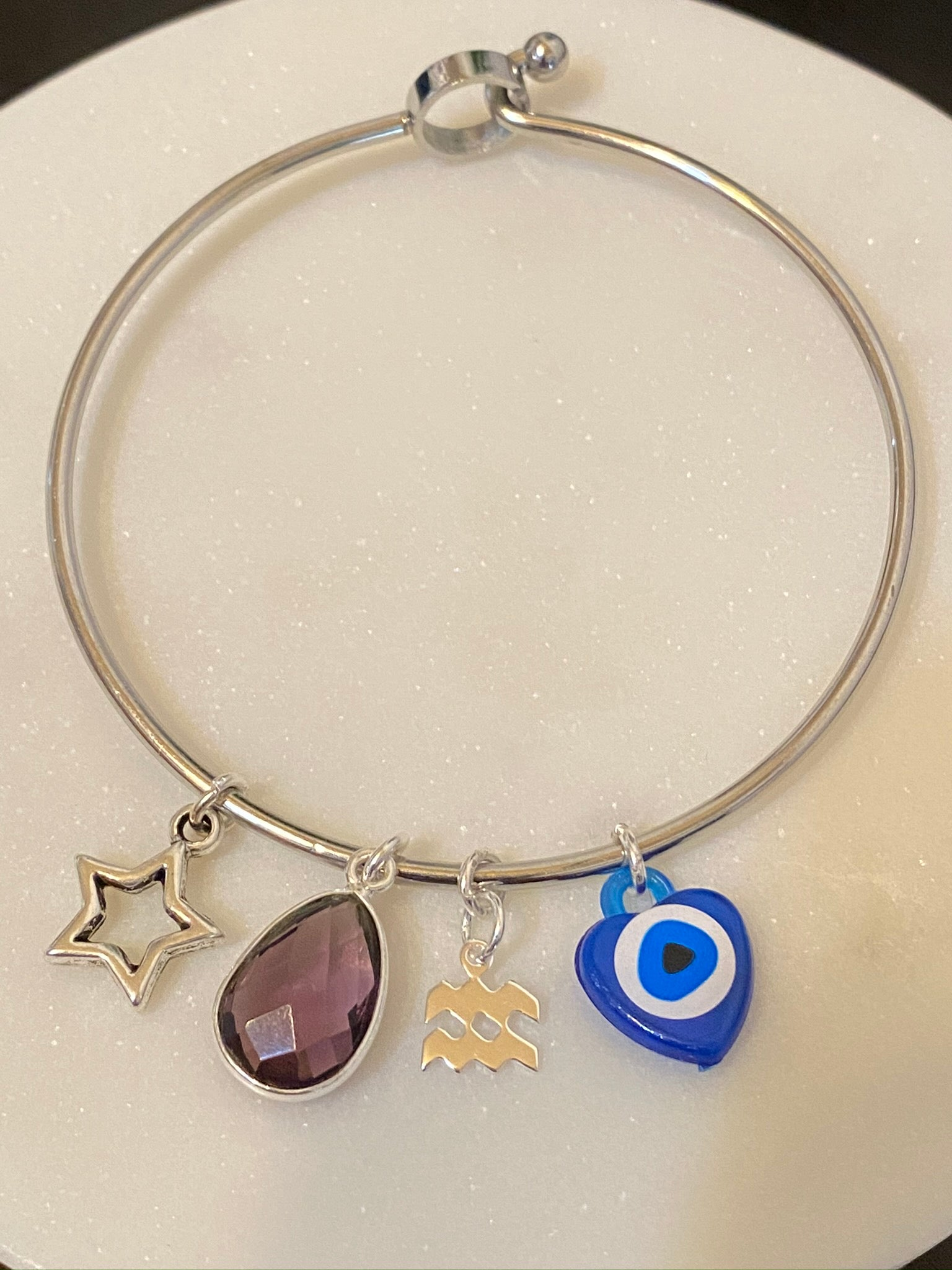 Aquarius Amethyst Bangle Bracelet