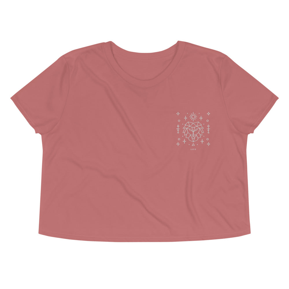 Leo Embroidered Crop Tee