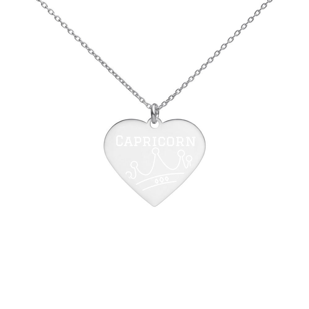 Capricorn Queen Engraved Silver Heart Necklace