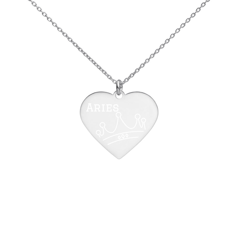 Aries Queen Engraved Silver Heart Necklace