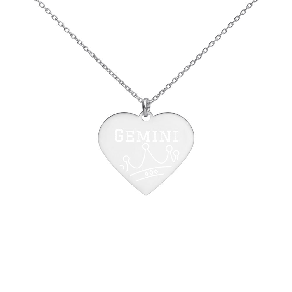 Gemini Queen Engraved Silver Heart Necklace