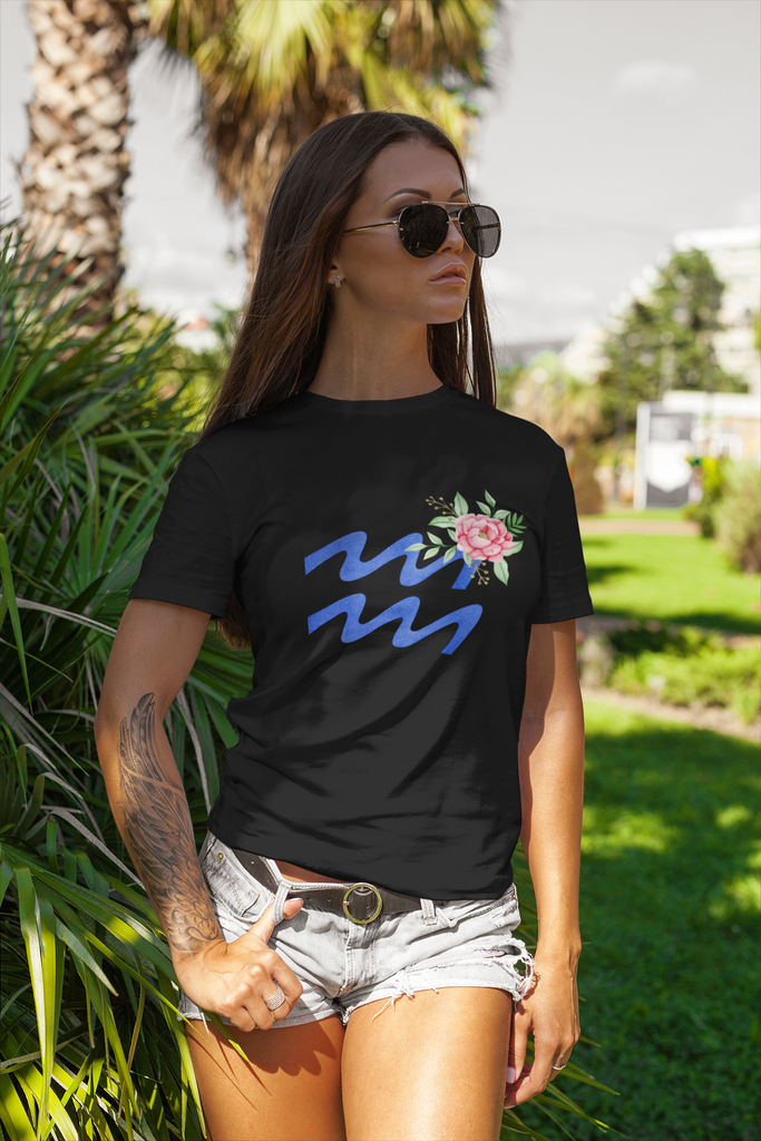 Aquarius Flowers Tee