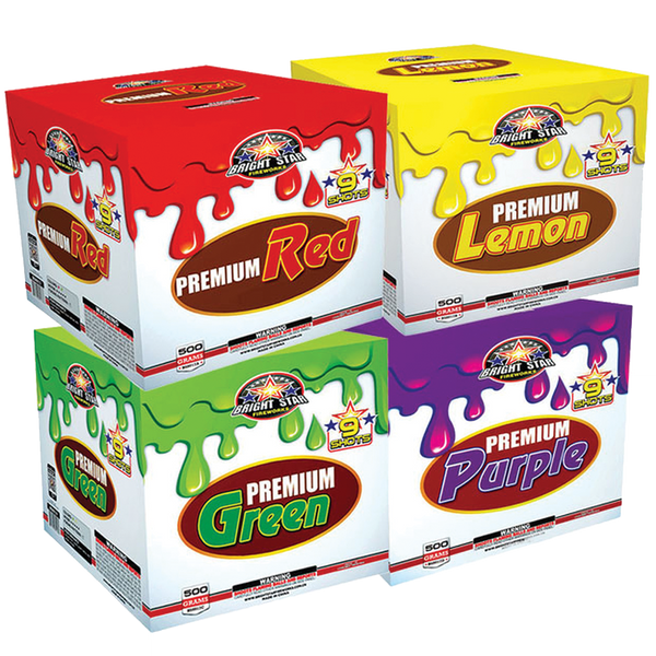 PREMIUM PURPLE, RED, LEMON, GREEN