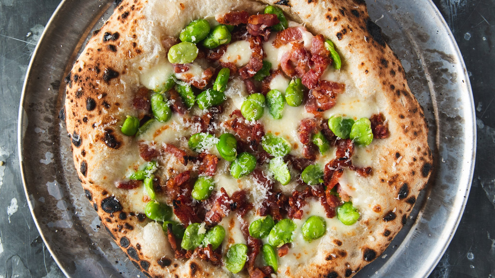 Fava Bean & Bacon Pizza with Lemon Oil