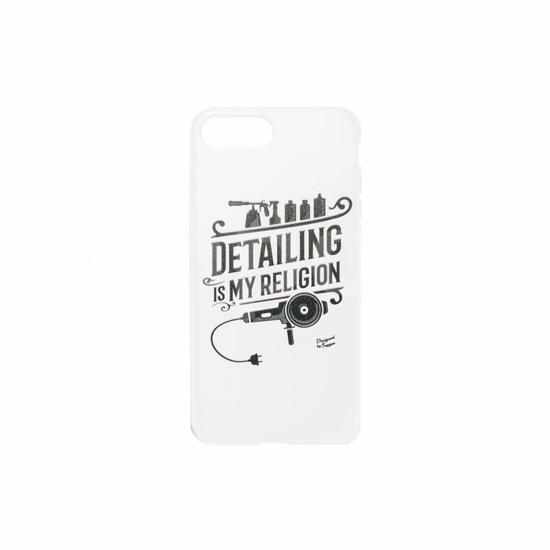 Cover Iphone 7/8 scritta Detailing My Religion con Lucidatrice e bottiglie