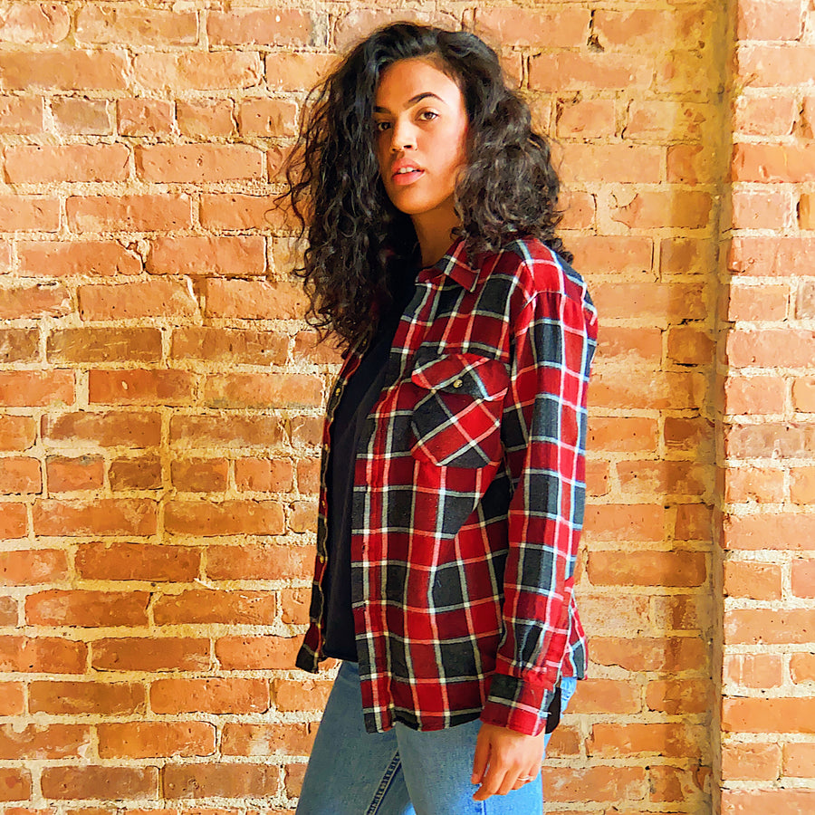 vintage black red flannel with interior chest pocket unisex gender neutral