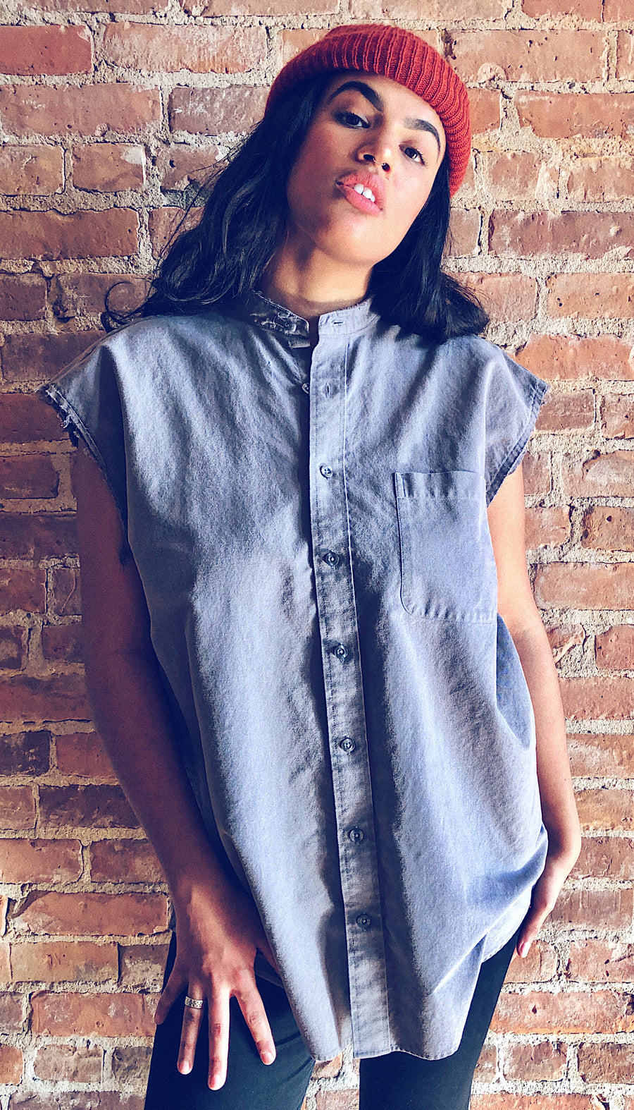 Grey raw hem button down tunic