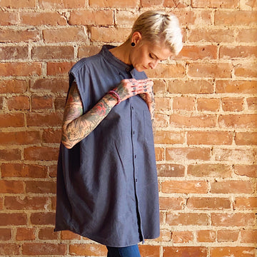 midnight steel blue sleeveless tunic