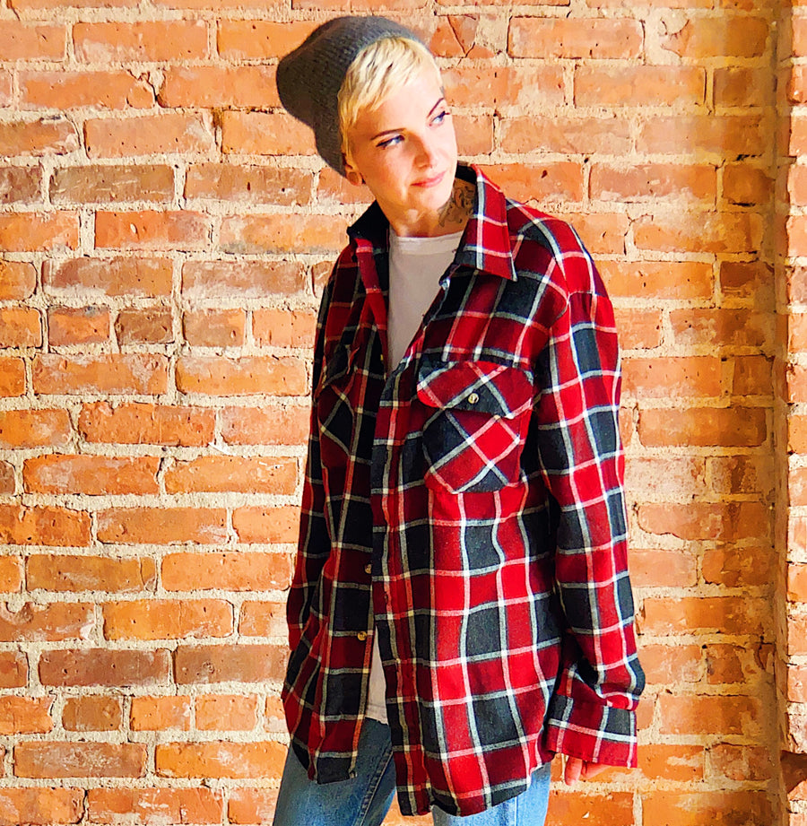 vintage black red flannel unisex gender neutral