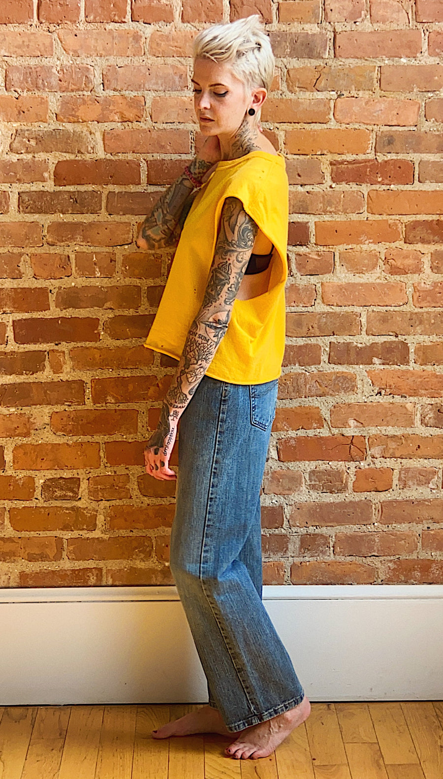 yellow distressed muscle tee gender neutral unisex