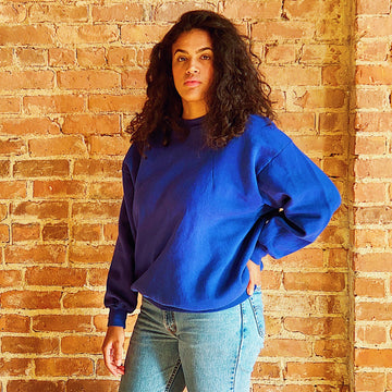 Vintage royal blue crewneck sweatshirt unisex gender neutral