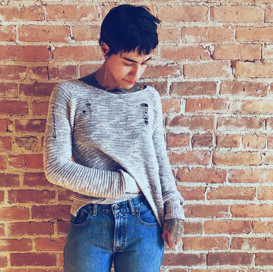 Grey Distressed Knit Sweater