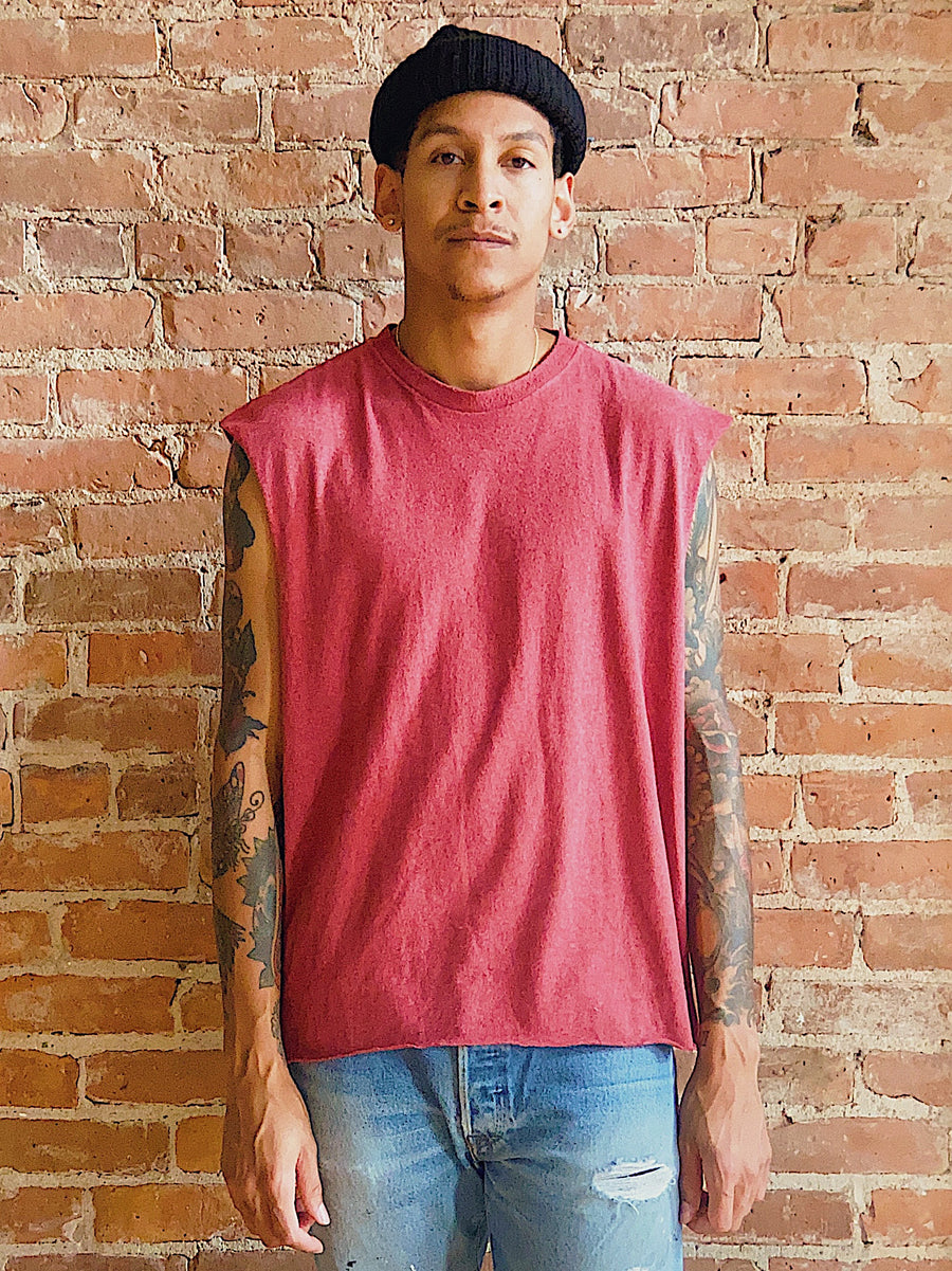 faded maroon distressed muscle tee unisex gender neutral