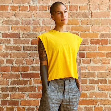 Yellow muscle tee unisex gender neutral