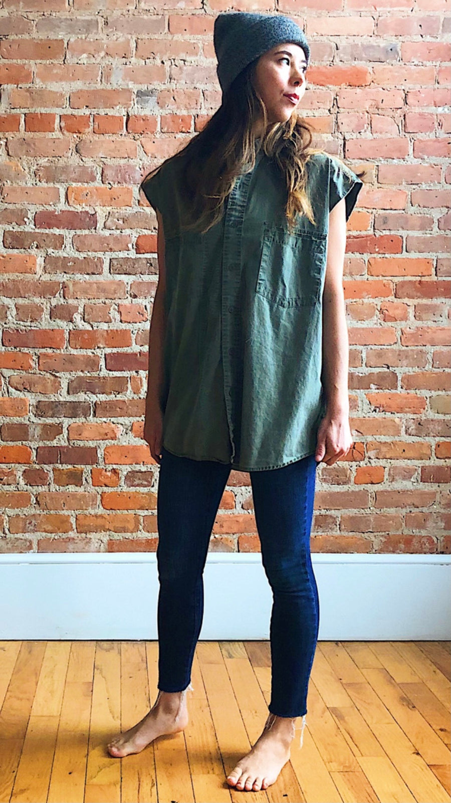 military green button down tunic