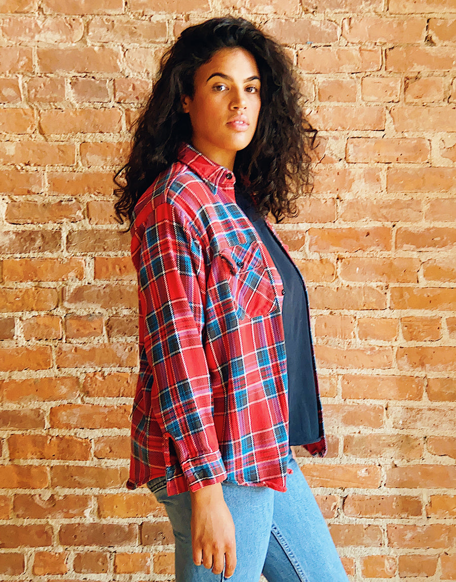 vintage soft cozy distressed red blue plaid flannel