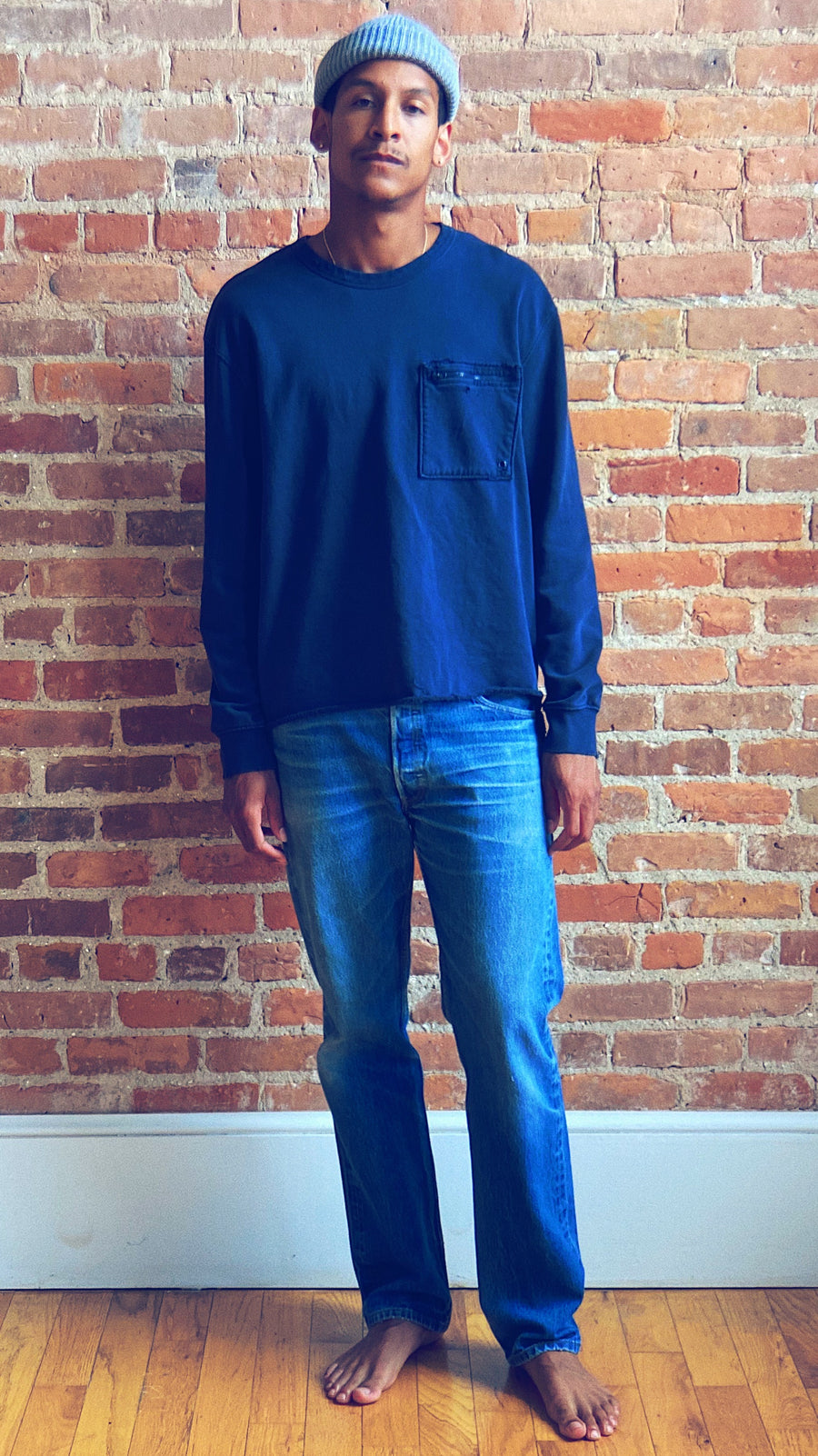 Navy distressed asymmetrical pocket sweatshirt unisex