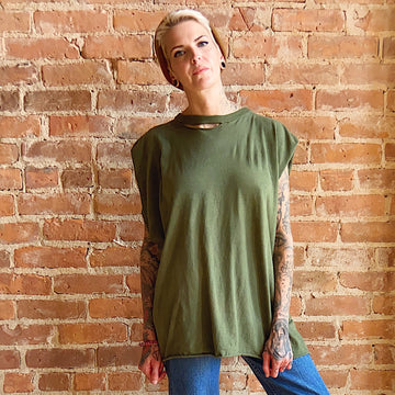 Unisex Army green distressed 90s muscle tee unisex gender neutral