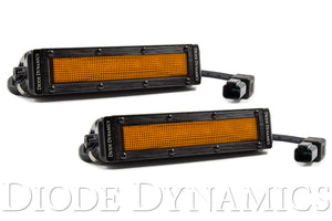 6 Inch LED Light Bar Amber Flood Stealth Pair Diode Dynamics