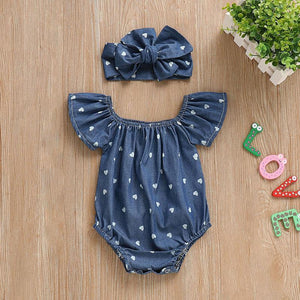 Blue Heart Romper Bow Headband Set