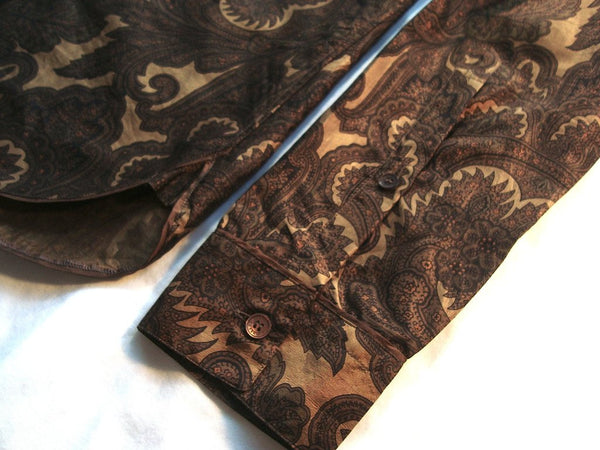 2008 Silk 'Cigar Paisley' Shirt in Gold/Burnt Orange