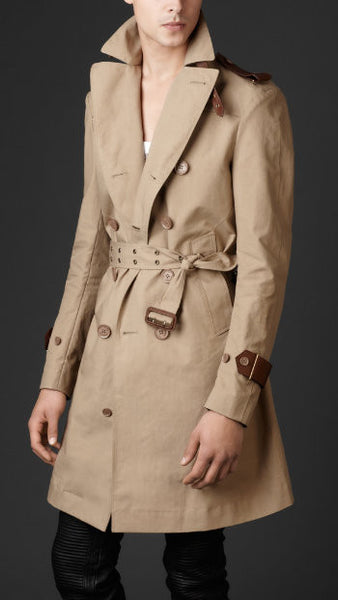 2011 Bonded Twill Biker Trench Coat with Leather and Metal Details