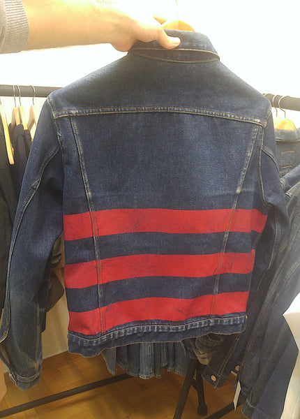 1996 Vintage Raw Denim 2 Pocket Jacket with Rubber Stripes