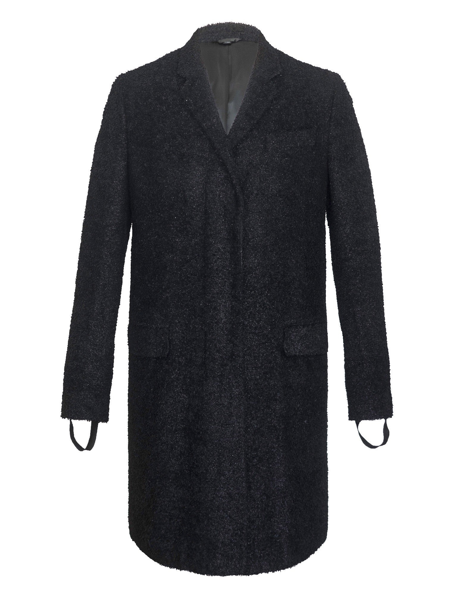 2003 Melted Wool Bouclé Chesterfield Coat with Bondage Cuff Straps