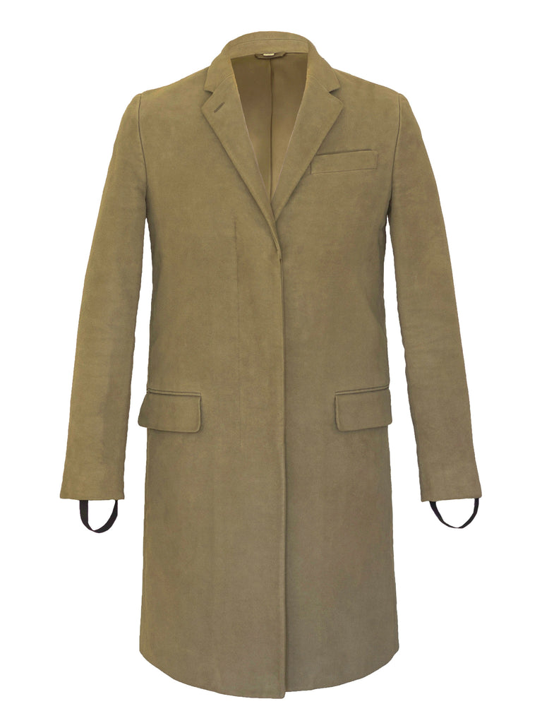 2003 Heavy Moleskin Cotton Chesterfield Coat with Bondage Cuff Straps