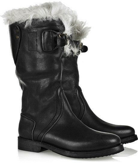 2010 Washed Leather 'Explorer' Boots with Sheep Fur Lining