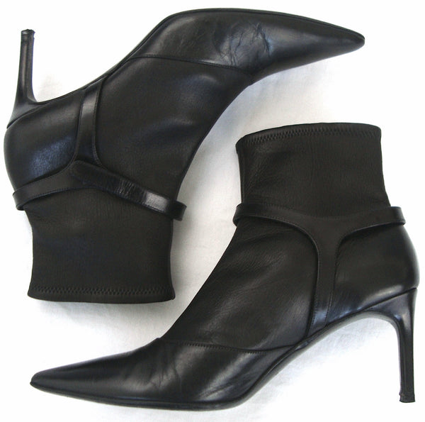 2001 Neoprene-Bonded Kid Leather Ankle Boots with Harness