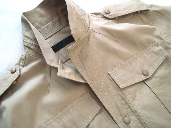 2011 Short-Sleeve Tailored Military Jacket with Metal Details