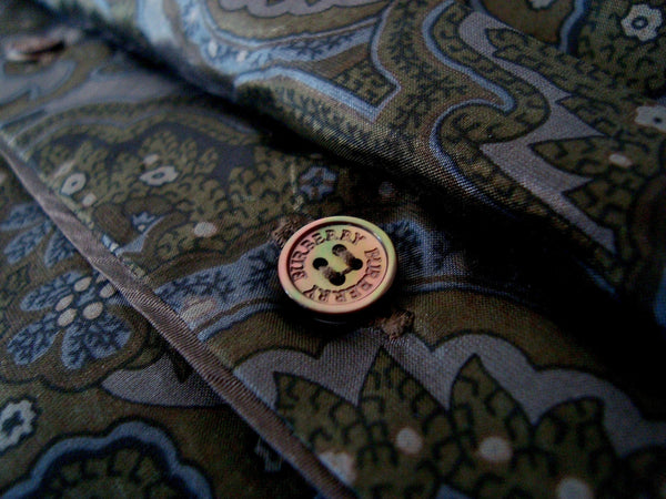 2008 Silk 'Cigar Paisley' Shirt in Blue/Moss Green