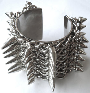 2011 Heavy Punk Bracelet with Spike Studs and Chains