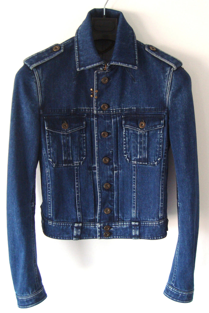 2011 Vintage Denim Military Jacket with Metal Details