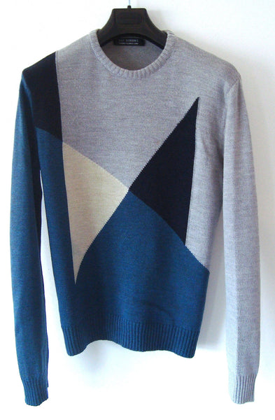2000 Merino Wool Sweater with Asymmetric Geometrical Pattern